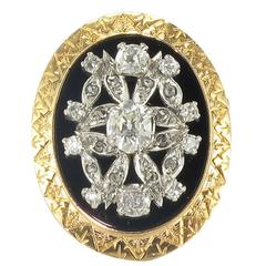 1900s French Onyx Diamond Gold Platinum Ring