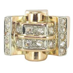 French 1940s Rose Cut Diamond Gold Tank Ring