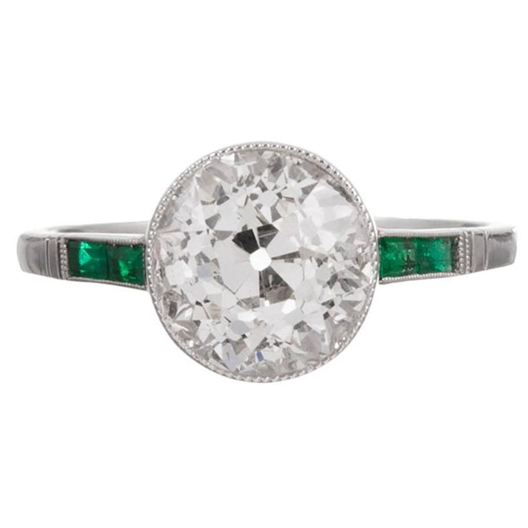 2 98 Carat Old European Cut Diamond Ring with Emerald Accents at 1stdibs