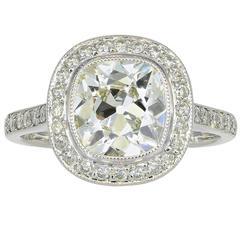 2.06 Carat Antique Cushion Cut Diamond Platinum Ring
