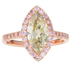1.45 Carat GIA Certified Green Marquee Diamond Gold Ring with Pink Diamonds