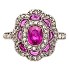 Edwardian Ruby Diamond Platinum Target Ring