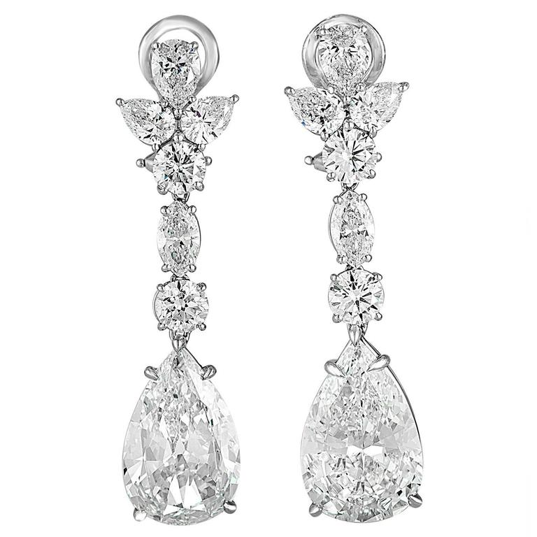 7 Carat Pear Shaped Diamond Platinum Drop Earrings