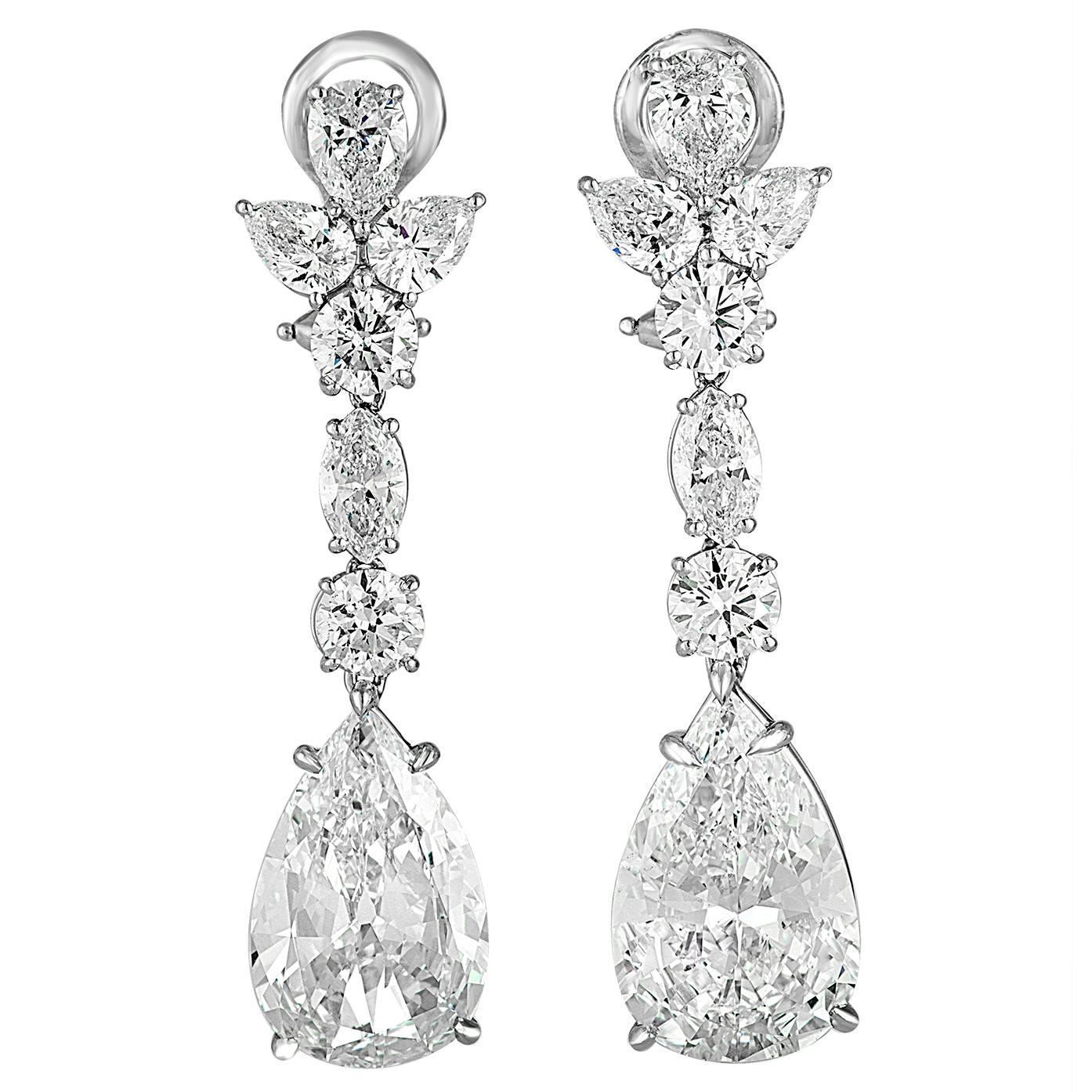 7 carat pear shaped diamond platinum drop earrings for