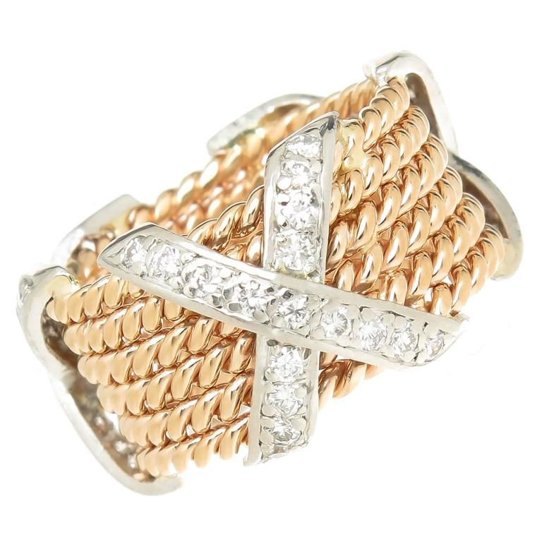 Tiffany And Co Schlumberger Diamond Gold X Rope Ring At