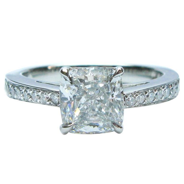 1.81 Carat GIA Cert Cushion Diamond Platinum Engagement Ring