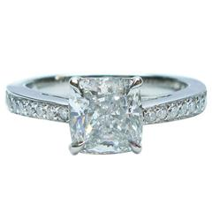 1.81 Carat GIA Cert Cushion Diamond Platinum Engagement Ring