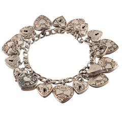 Antique Sterling Silver Heart Charm Bracelet