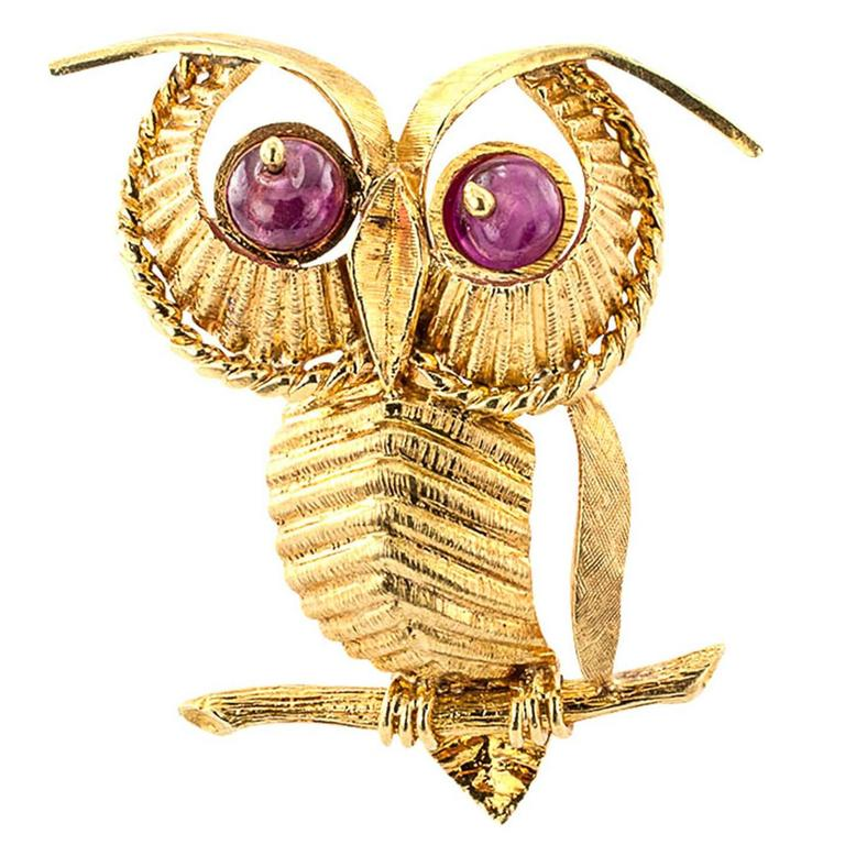 1970s Zolotas Ruby Gold Owl Brooch