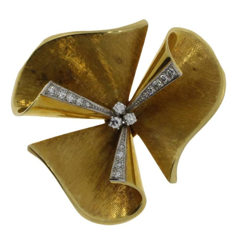 1950s Diamond Gold Floral Brooch For Sale