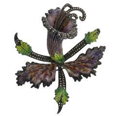 1930s Large Enamel Marcasite Silver Flower Brooch