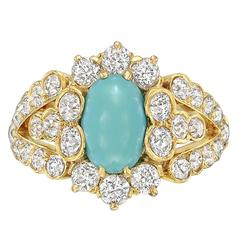 1890s Turquoise Diamond Gold Dress Ring