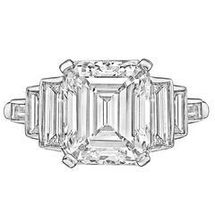 5.20 Carat Emerald-Cut Diamond Platinum Engagement Ring