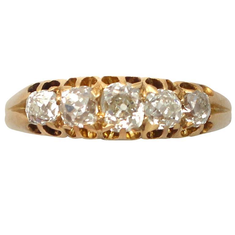 1900s 1.13 ct Diamond, 18k Yellow Gold, Five Stone Ring