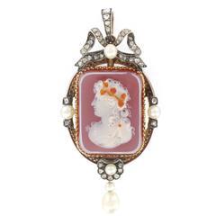 French Napoleon III Fine Pearl Diamond Agate Cameo Pendant Brooch
