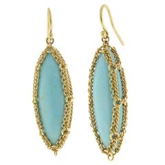 Anthony Nak Turquoise Gold Drop earrings