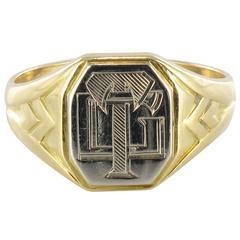 Art Deco Men's Two Color Gold Signet Ring