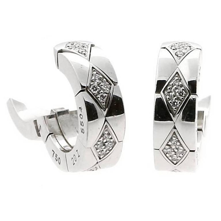 Chanel Matelasse Diamond Gold Earrings