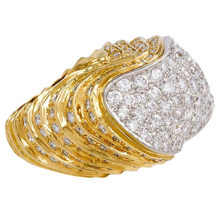 1960s Chunky Diamond Gold Platinum Ring