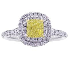 Tiffany & Co. Soleste Fancy Intense Yellow Diamond Gold Platinum Ring