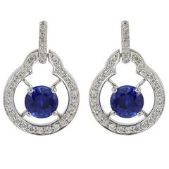 2.53 Carats Sapphires Diamond Platinum Earrings
