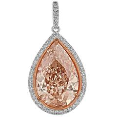 10 Carat GIA Fancy Orangy Brown Pear Shaped Diamond Gold Platinum Pendant