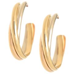 Cartier Trinity Three Color Gold Hoop Earrings