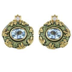 Elizabeth Gage Enamel Oval Cut Aquamarine Diamond Gold Oak Leaf Earrings