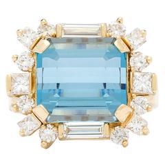 10.00 Carat Aquamarine Diamond Gold Ring
