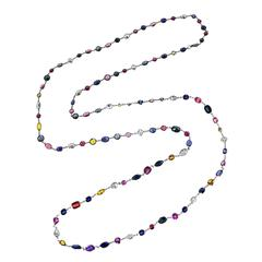 Multi-Colored Sapphire Diamond Platinum Longchain Necklace