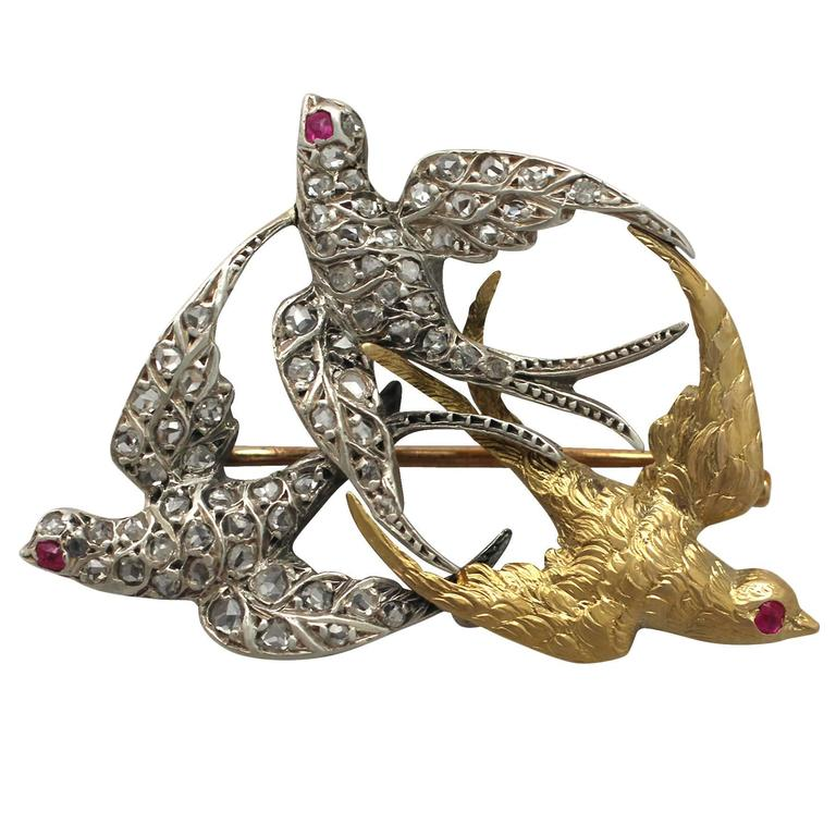 Victorian 0.55 Carat Diamond, 18k White Gold and 18k Yellow Gold Swallow Brooch
