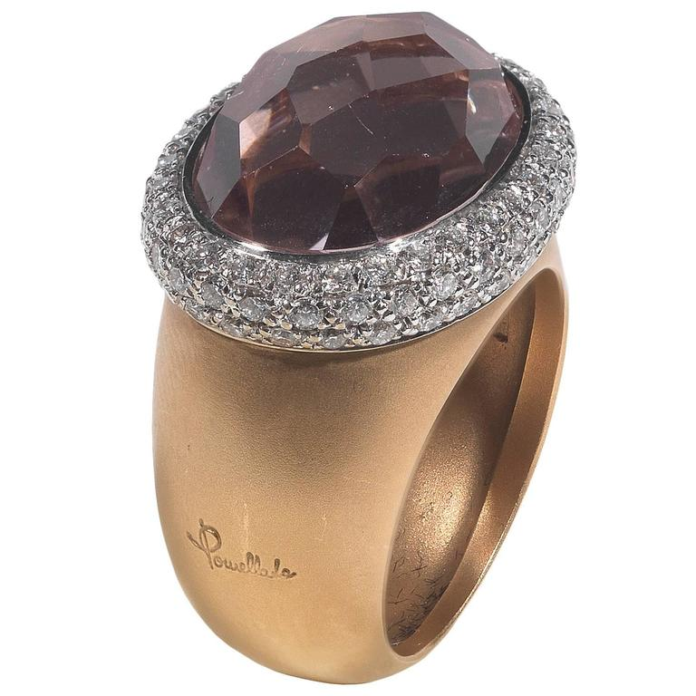Pomellato Iceberg Morganite Diamond Two Color Gold Ring For Sale at 1stdibs