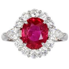 3.16 Carat Ruby Diamond Platinum Cluster Ring