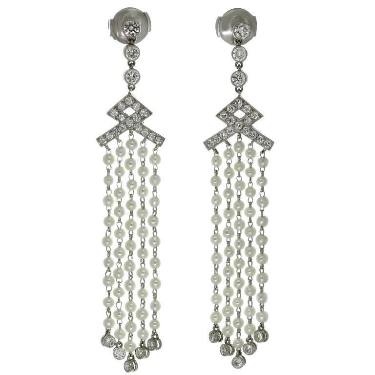 Tiffany & Co. Seed Pearl Diamond Platinum Drop Earrings