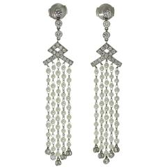 Tiffany & Co. Seed Pearl Diamond Platinum Drop Earrings