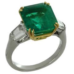 Bulgari 6.13 Carat GIA Cert Colombian Emerald Diamond Platinum Ring