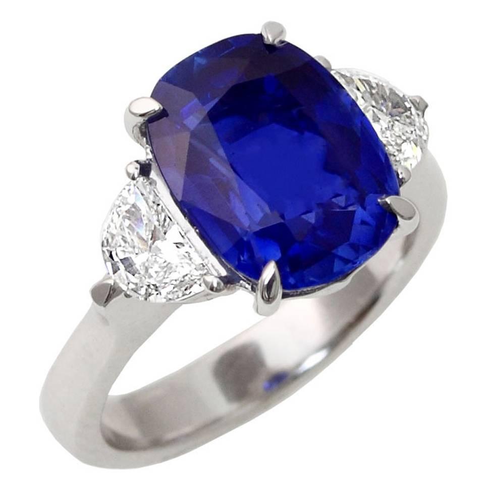 Rare 554carat Noheat Kashmir Sapphire Diamond Engagement Ring