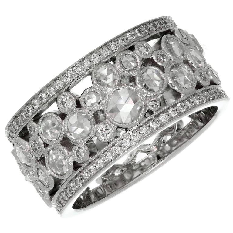 Tiffany And Co Cobblestone Diamond Platinum Band Ring For