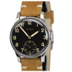 Eterna Stainless Steel Military Style Wristwatch