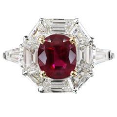 "Rare AGL Certified ""Classic"" No Heat Ruby Diamond Gold Platinum Ring"
