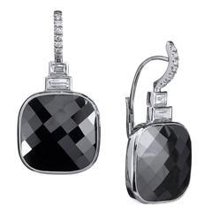 13.37 Carats Black Diamonds Earrings