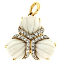 Triple Fan Hand Carved Cocolon (Cacholong) Diamond Gold Pendant