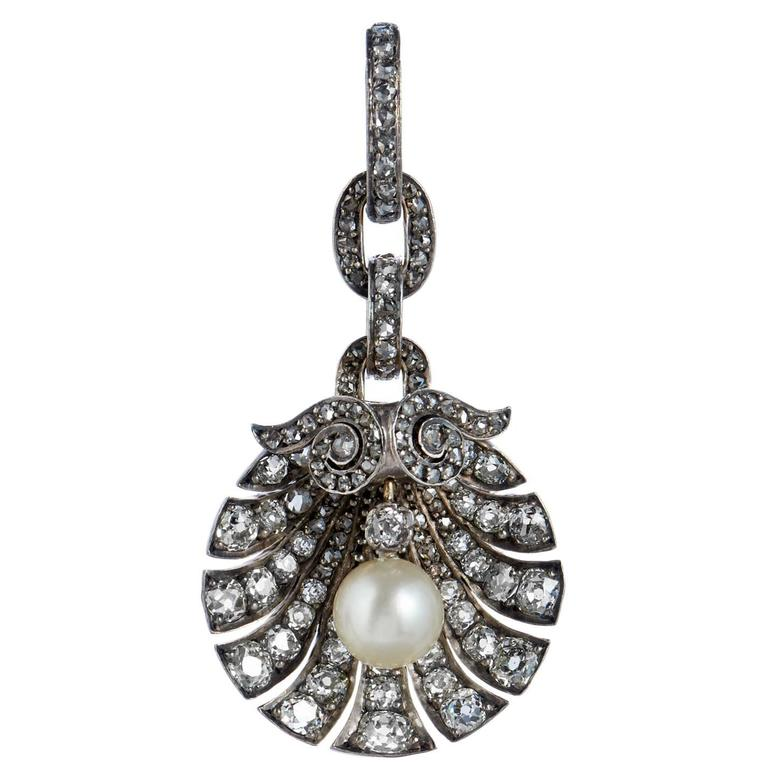Georgian Era Pearl Diamond Silver Gold Pendant