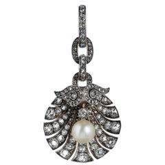 Georgian White Pearl and 2.50-3.00 Carat of Diamonds Silver and Gold Pendant