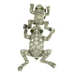 Shreve & Co. Art Deco Diamond Platinum Frog Pin