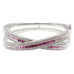 Pink Sapphire Diamond Gold Bangle Bracelet