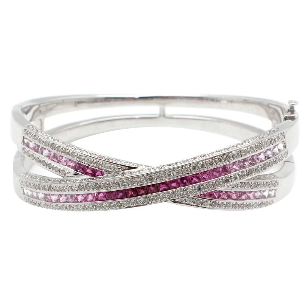 Pink Sapphire Diamond Gold Bangle Bracelet at 1stdibs