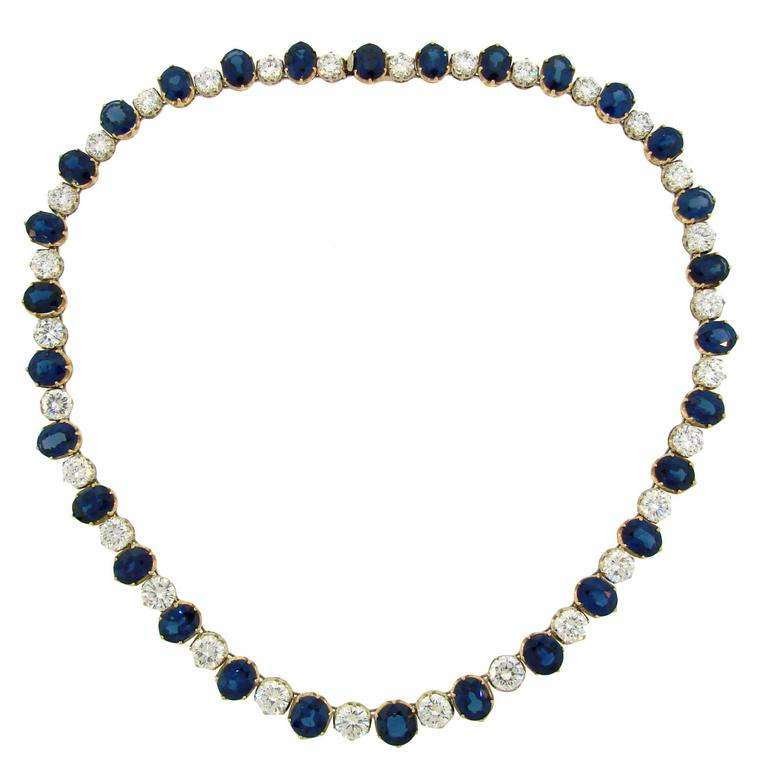 Natural Sapphire GIA Cert Diamonds Gold Riviere Necklace