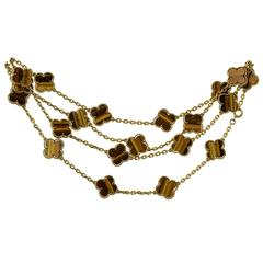 Van Cleef & Arpels Alhambra Tiger's Eye 20-Motif Necklace