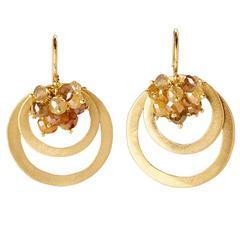 Faye Kim Handcrafted Double Loop Milky Diamond Cluster Earrings